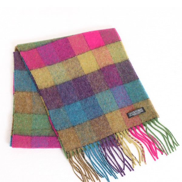 100% Lambswool Irish Scarf - Bright Plaid -   - 1