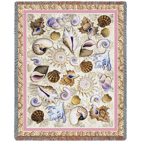 Seashells Woven Throw Blanket by Helen Vladykina©