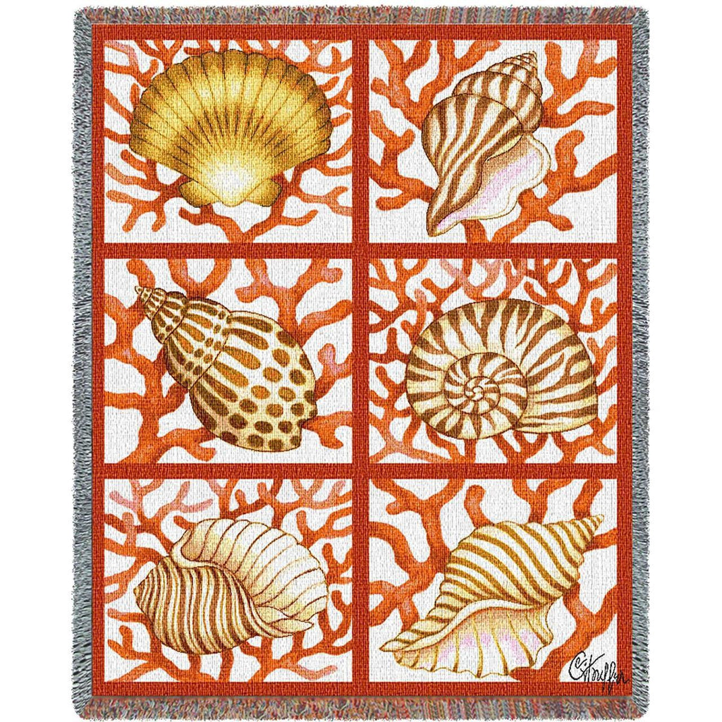 Shells and Coral Woven Throw Blanket