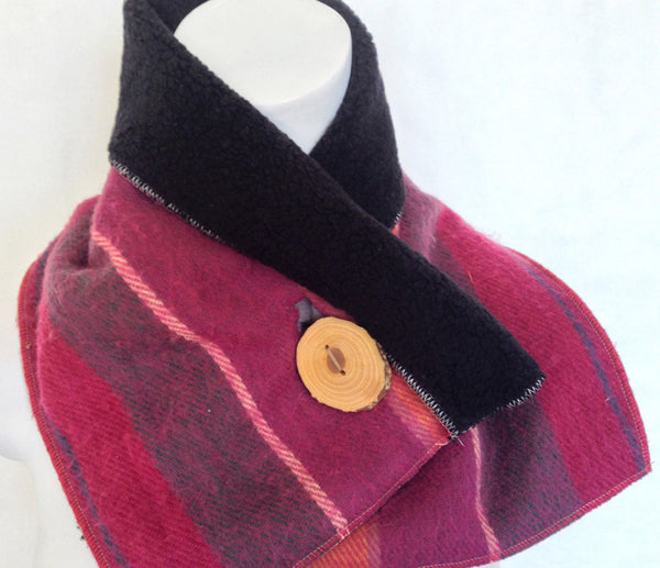 Sorbet Plaid Upcycled Neckwarmer - One-of-a-Kind -   - 4
