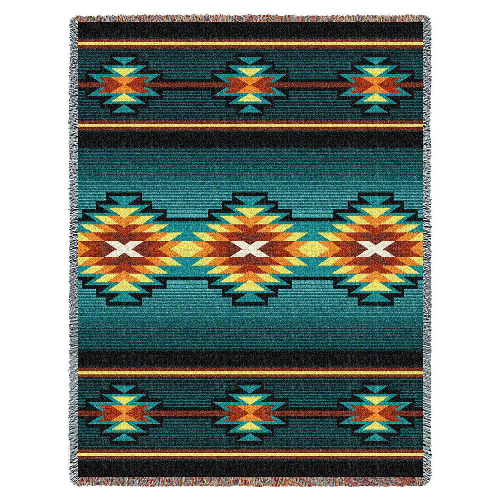 Southwest Geometric Turquoise II Woven Throw Blanket -