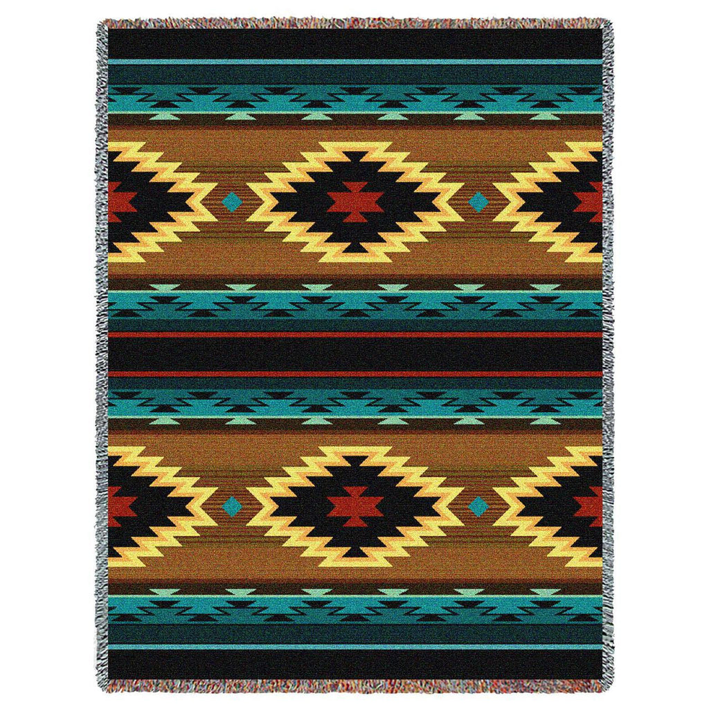 Southwest Geometric Turquoise Woven Throw Blanket -