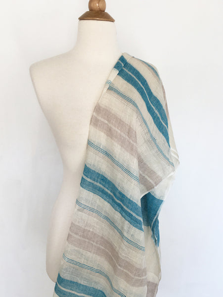 Linen Striped Stole - Turquoise/Ivory/Tan