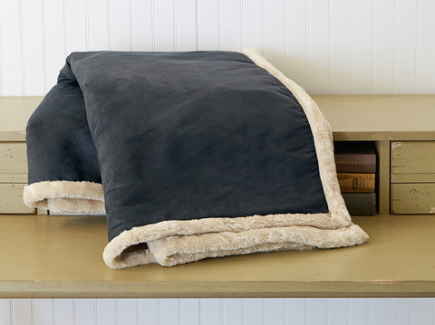The Artic Throw - Black Faux Leather reversed Pearl Faux Fur -