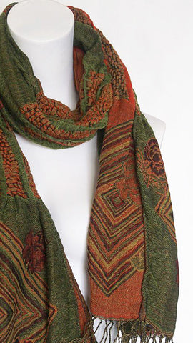 Woven Reversible Ruffled Scarf/Shawl - Juniper Orange