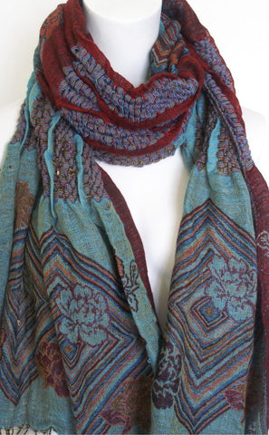 Woven Reversible Ruffled Wrap/Scarf/Shawl - Teal/Merlot