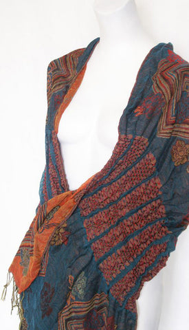 Woven Reversible Ruffled Wrap/Scarf/Shawl - Teal/Red