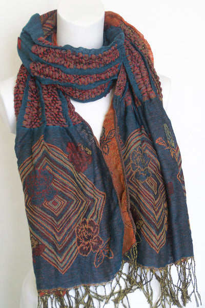 Woven Reversible Ruffled Wrap/Scarf/Shawl - Blue Gray/Red