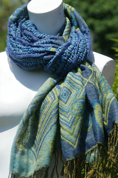 Woven Reversible Ruffled Wrap/Scarf/Shawl - Blues/Greens