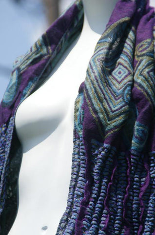 Woven Reversible Ruffled Scarf/Shawl - Violet Sapphire
