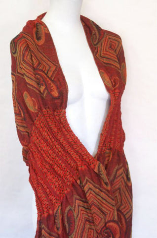 Woven Reversible Ruffled Wrap/Scarf/Shawl - Red/Orange/Greens
