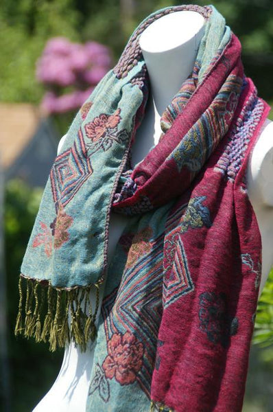Woven Reversible Ruffled Scarf/Wrap - Boysenberry