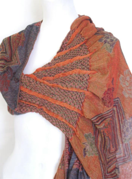 Woven Reversible Ruffled Wrap/Scarf/Shawl - Dk Gray/Reds Oranges
