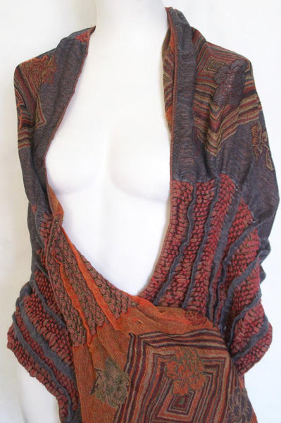 Woven Reversible Ruffled Scarf/Shawl -  Smoked Coral