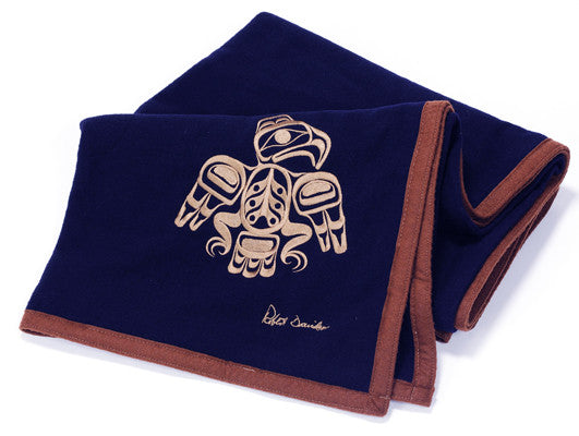 "Robert Davidson© ""Eagle"" Embroidered on Navy Wool Blanket"