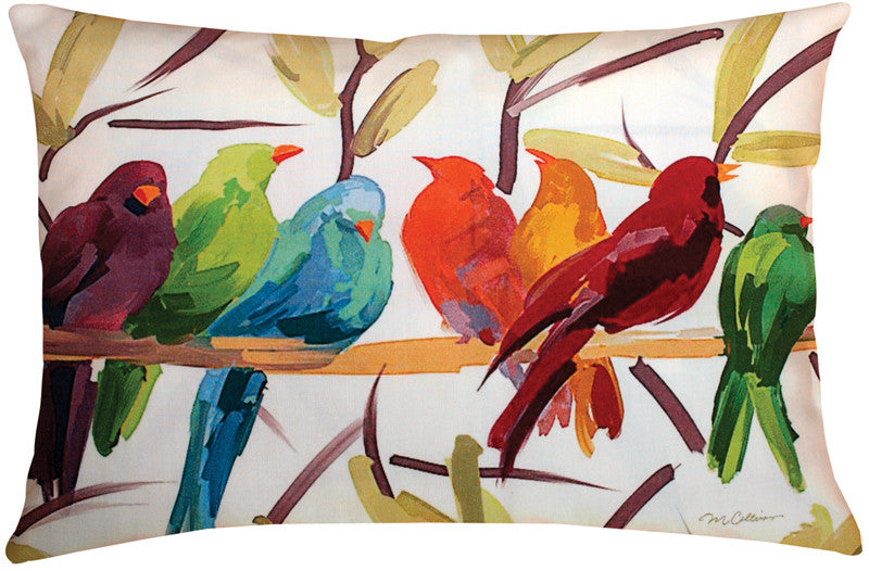Flocked Together Indoor/Outdoor Pillow by Martha Collins© - Birds Motif -