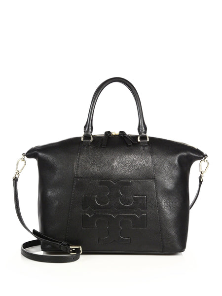 Tory Burch 21169798 Bombe-T Medium Slouchy Black Leather Tote