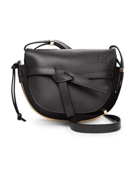 LOEWE 321.74AT20 Small Gate Black Leather Saddle Bag