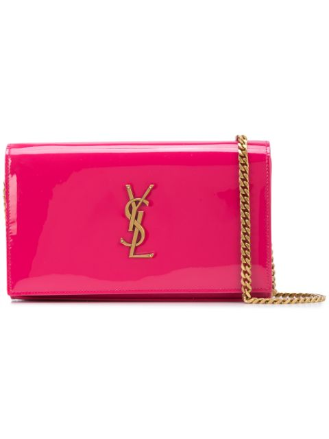 Saint Laurent 3778290UF1W Kate Monogram Patent Leather Wallet on Chain Fresh Fuxia