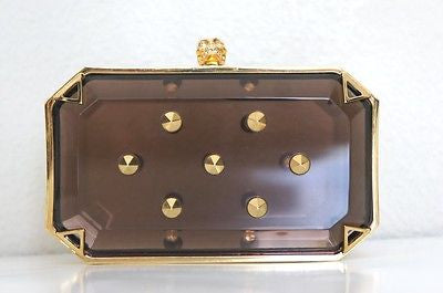 Alexander McQueen Small Amber Studded Skull 345659 Grey Gold Plexiglass Clutch