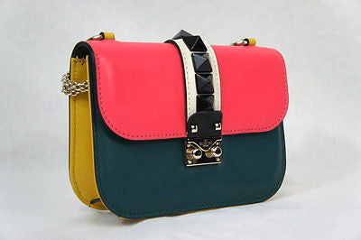 Valentino Glam Lock Colorblock Rockstud Iw0b0312vhe Leather Shoulder Bag