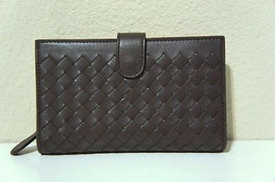 NWT Bottega Veneta Intreccito Framed Woven Wallet