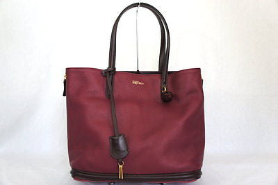Alexander McQueen Skull Padlock Shopper 321788 Oxblood Pebbled Leather Tote
