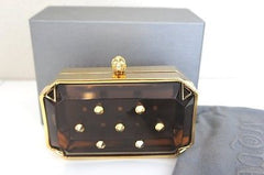 Alexander McQueen Transparent Small Skull Clutch GREY GOLD