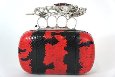 NWT Alexander McQueen Slamand Knuckle Clutch, Black/Red $3495