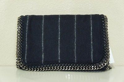 Stella McCartney Falabella Wool Pinstripe Shoulder Bag, DARK BLUE