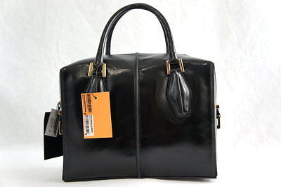 NWT Tod's D-Cube Bauletto Medium Glossed-leather Tote, Black MSRP $1595