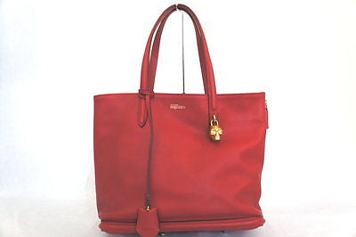Alexander McQueen Pebbled Padlock Shopper Red Leather Tote