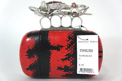 Alexander McQueen Python Glory Knuckle 373692 Flame Black Leather Clutch
