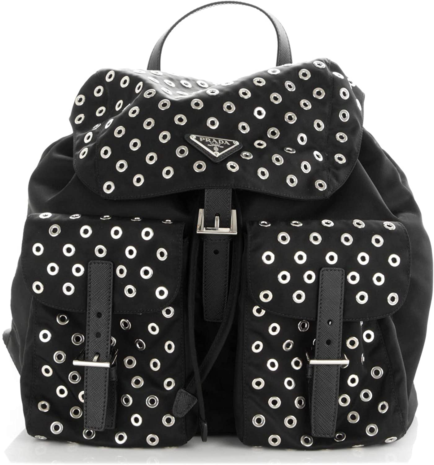 Prada 1BZ811 Tessuto Zainetto Nylon Grommet Black Backpack