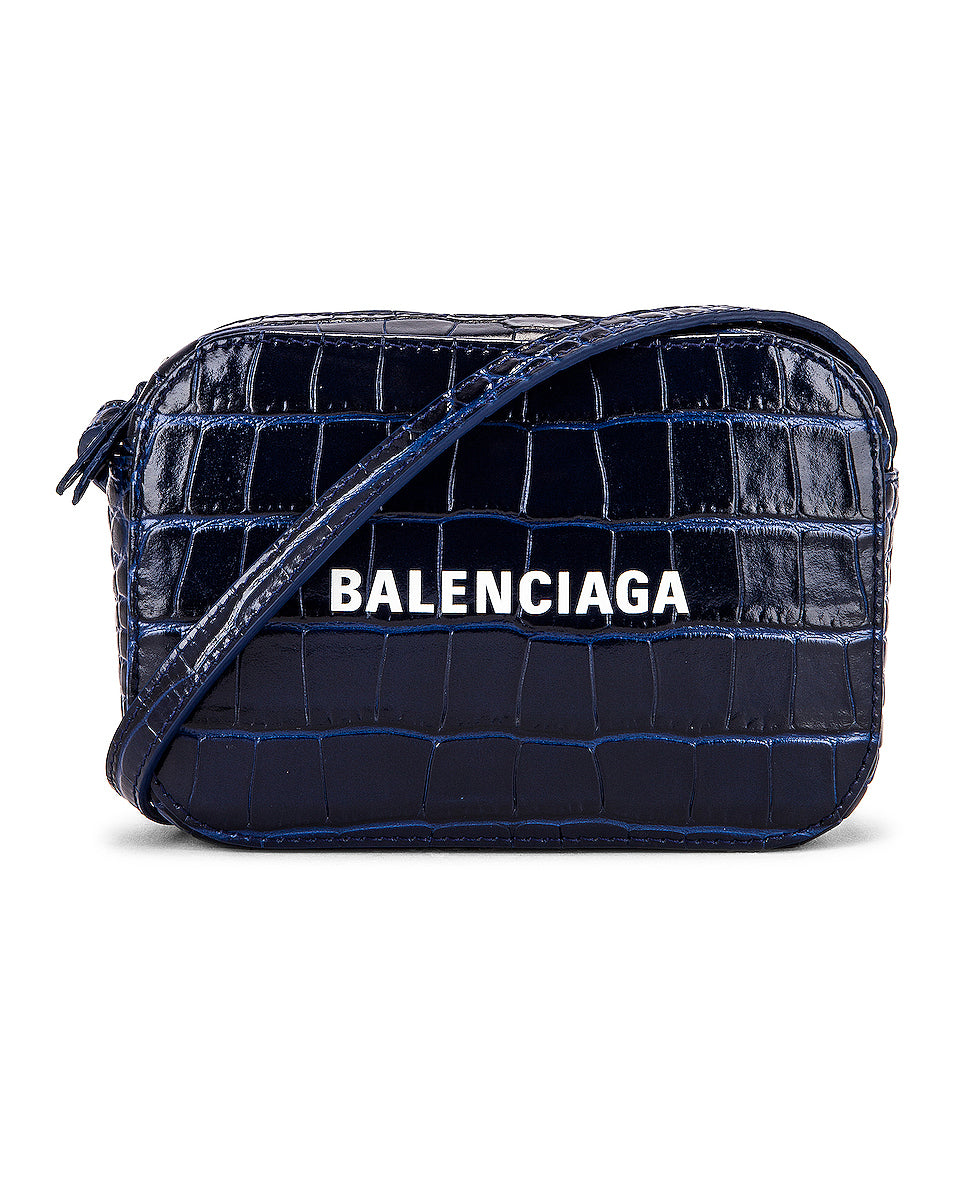 Balenciaga 552372 XS Embossed Croc Everyday Navy Camera Bag