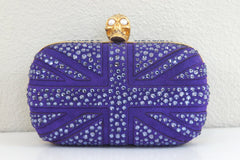 Alexander McQueen Crystal Britannia Box Clutch PURPLE