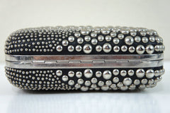 Alexander McQueen Swish Studded Box Clutch BLACK