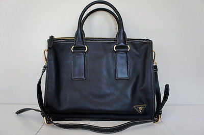 Prada Bauletto City Calf Leather Convertible Tote BL0714, NERO