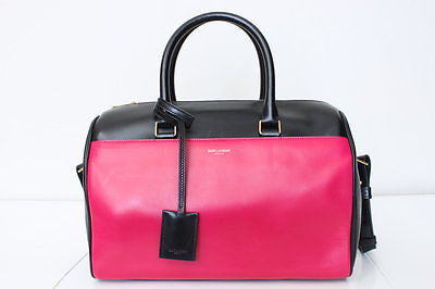 Saint Laurent Bicolor Duffle 6 Bowling Satchel, BLACK PINK