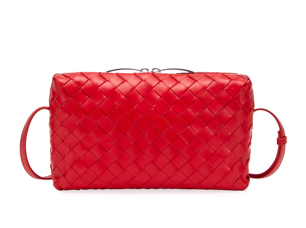 Bottega Veneta 597329 Nodini Intrecciato Woven Crossbody Bright Red