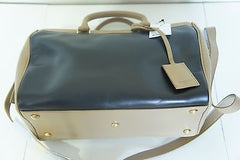 Saint Laurent Bicolor Duffle 6 Bowling Satchel BLACK BEIGE