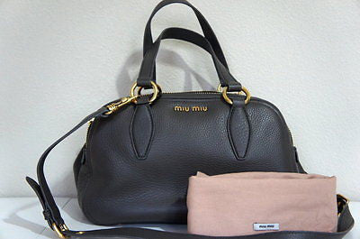 Miu Miu Graphite Pebbled Leather Dual Zip Compartment Tote, GRAPHITE