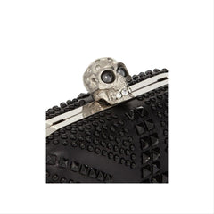 Alexander McQueen 360111 Brittania Studded Skull Chain Black Leather Clutch