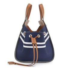 LOEWE Small Hammock 314.60.Z95 Deep Blue/Soft White Classic Calfskin Canvas Bag