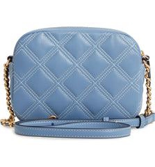 Tory Burch Fleming Quilted Soft Contrast Stitch Bluewood Crossbody Bag