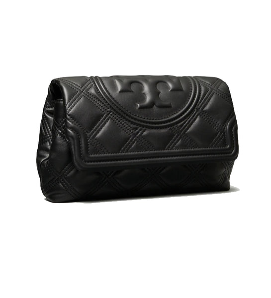 Tory Burch 59690 Fleming Soft Leather Clutch Black
