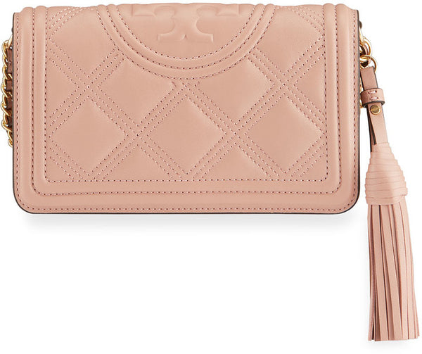 Tory Burch 64312 Fleming Soft Quilted Wallet Crossbody Pink Moon