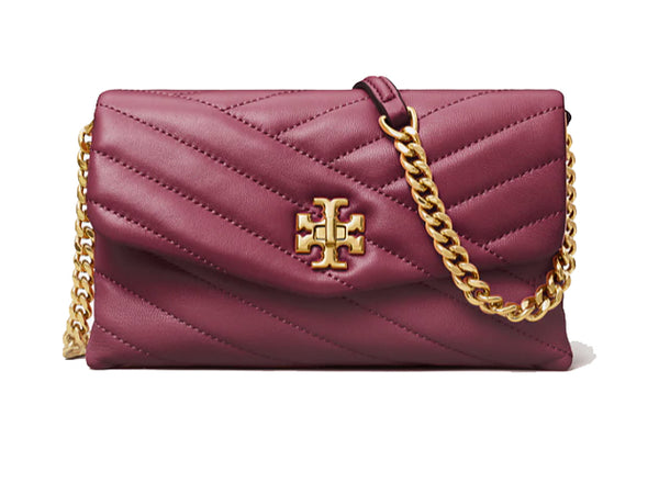 Tory Burch 64068 Kira Chevron Quilted Chain Wallet Imperial Garnet