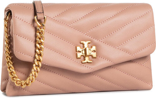 Tory Burch 64068 Kira Chevron Quilted Chain Wallet Pink Moon