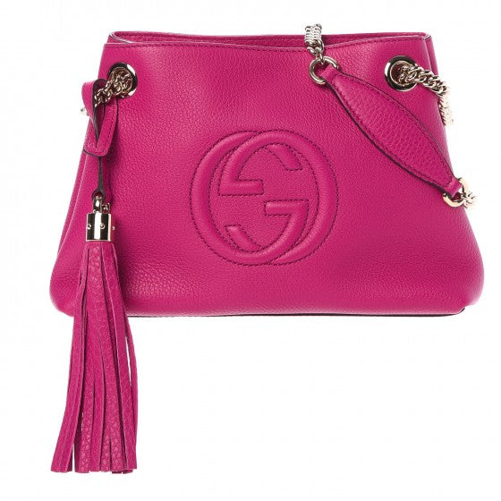 Gucci 387043 Pebbled Calfskin Small Soho Chain Shoulder Bag Bright Bougainvillea